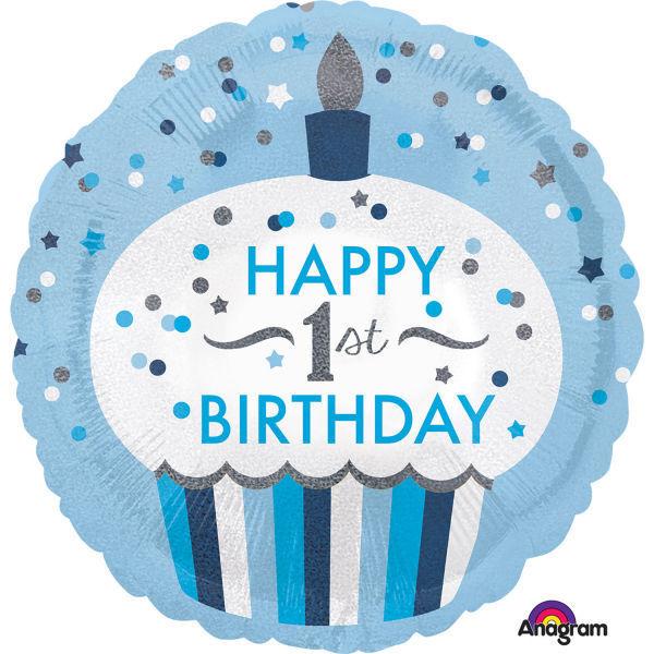 "Picture of 1st Birthday Cupcake - Junge"" Folienballon"