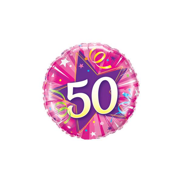"Picture of 50 Shining Star Hot Pink Folienballon 18"""