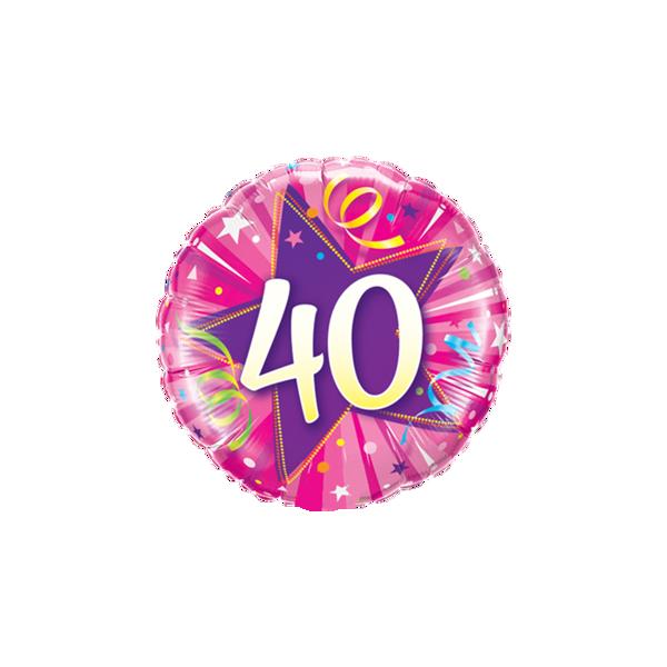 "Picture of 40 Shining Star Hot Pink Folienballon 18"""