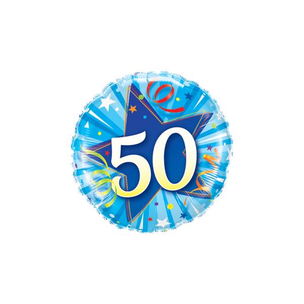 """Picture of 50 Shining Star Bright Blue Folienballon 18"""""""