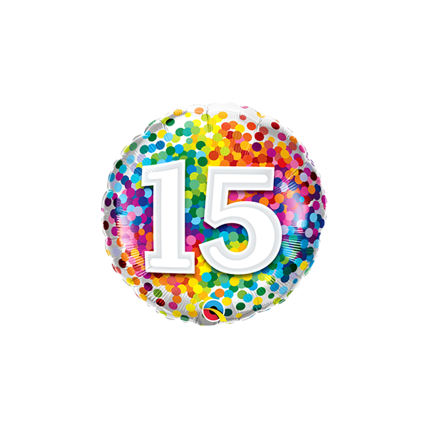 "Picture of 15 Rainbow Confetti Folienform Rund 18"""