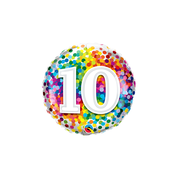 "Picture of 10 Rainbow Confetti Folienform Rund 18"""