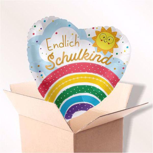 """Picture of Folienballon """"Endlich Schulkind"""" Regenbogen im Karton"""