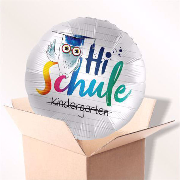 "Picture of Folienballon ""Hi Schule"" Eule im Karton"