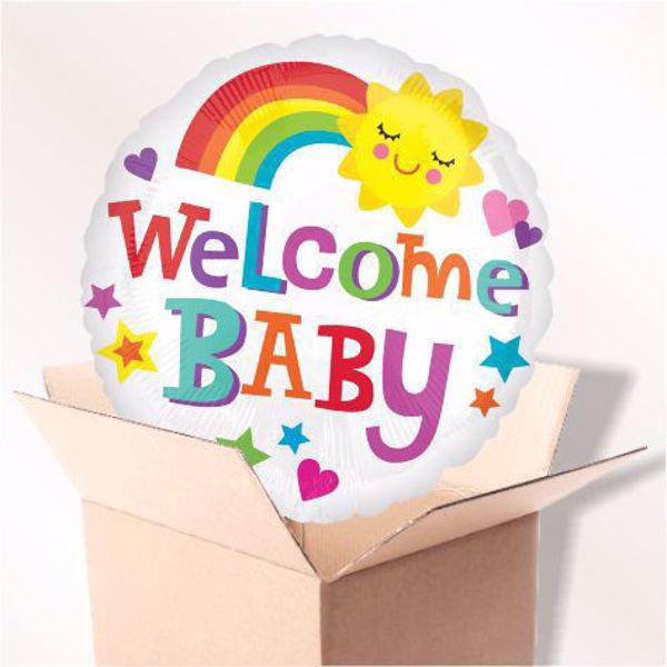 Picture of Folienballon Welcome baby rainbow im Karton