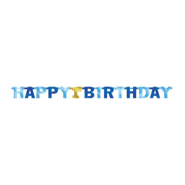 Picture of Partykette 1st Birthday blau Folie