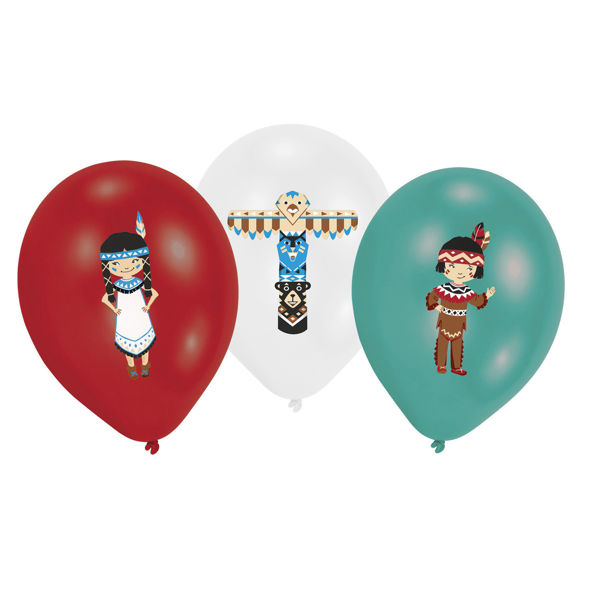 Picture of 6 Latexballons Tepee & Tomahawk