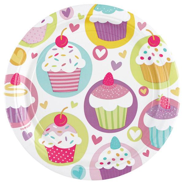 Picture of 8 Teller Cupcake Papier groß rund