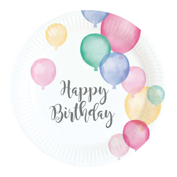Picture of 8 Plates Happy Birthday Pastel Klein