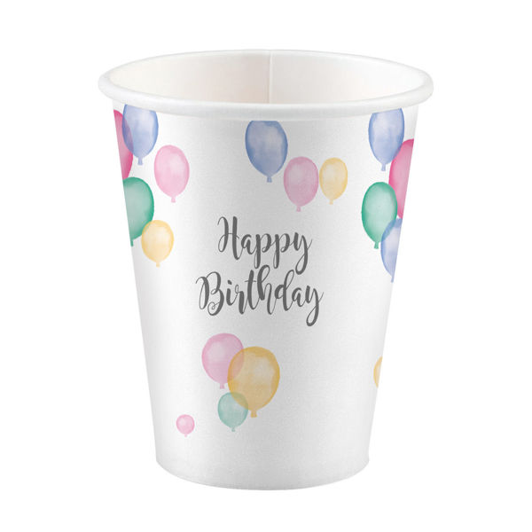Picture of 8 Cups Happy Birthday Pastel Paper 250 ml