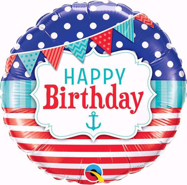 Picture of Folienballon Birthday Nautical & Pennants