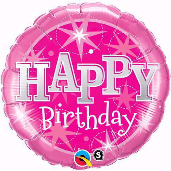 Picture of Folienballon Birthday pink sparkle