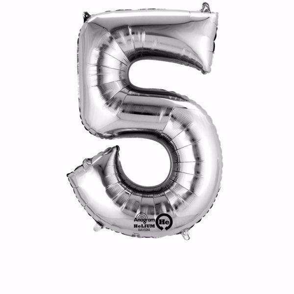 Picture of Folienballon 5 Silber Zahl XXL