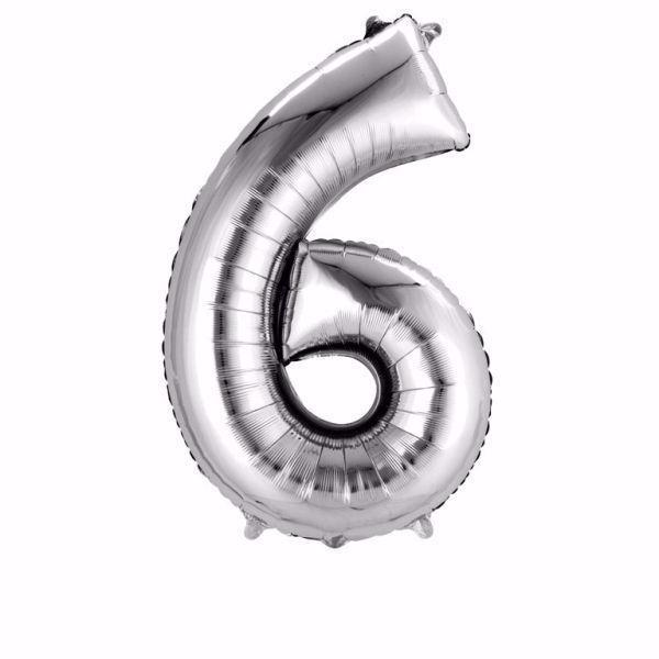Picture of Folienballon 6 Silber Zahl XXL