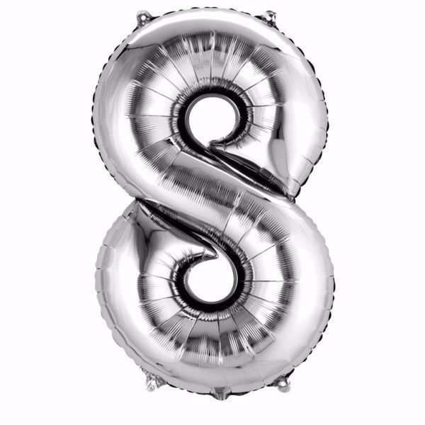 Picture of Folienballon 8 Silber Zahl XXL