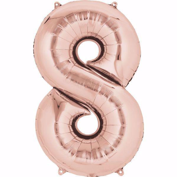 Picture of Folienballon 8 Rosegold Zahl XXL