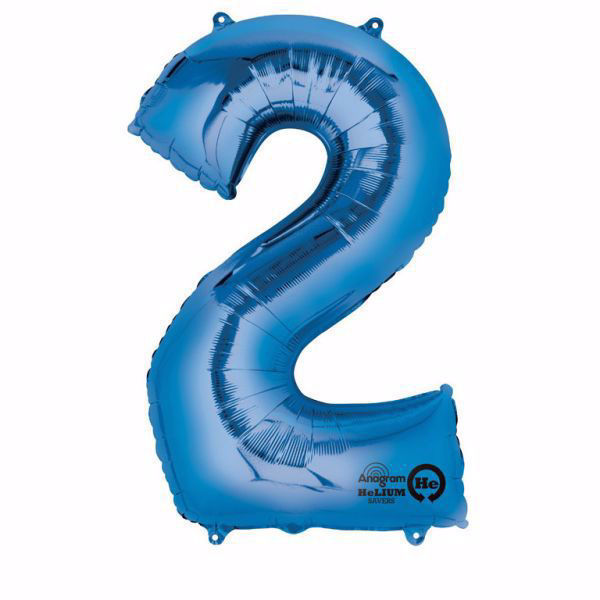 Picture of Folienballon 2 Blau Zahl XXL