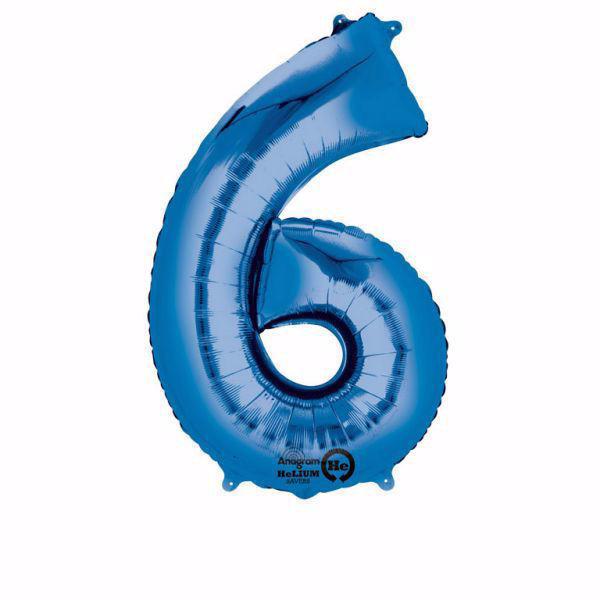 Picture of Folienballon 6 Blau Zahl XXL