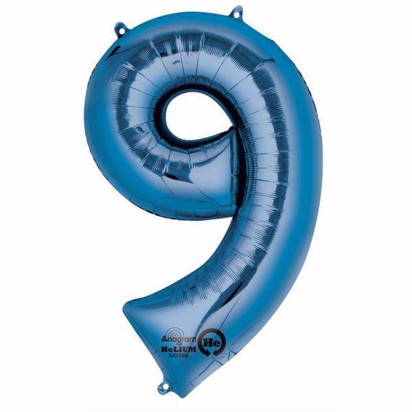 Picture of Folienballon 9 Blau Zahl XXL