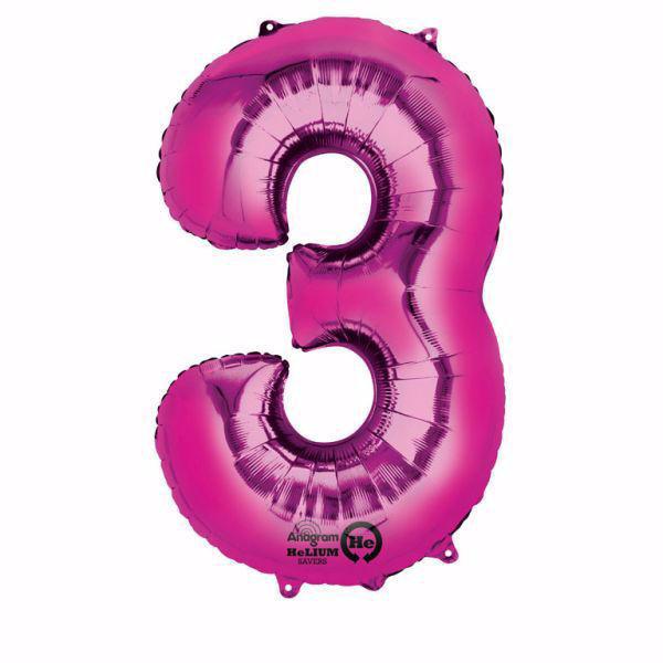 Picture of Folienballon 3 Pink Zahl XXL
