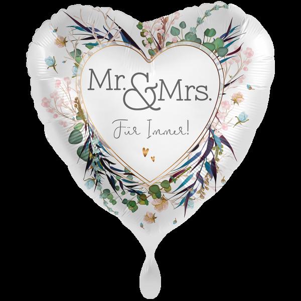 "Picture of Mr. & Mrs. Für Immer Folienballon XXL 28"""