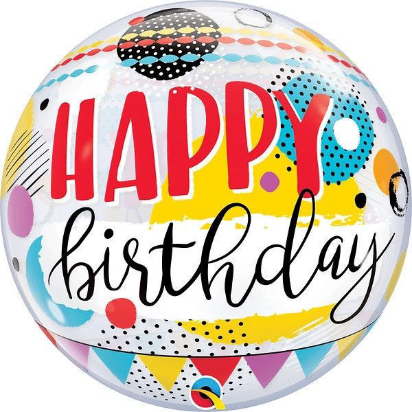 """Picture of BIRTHDAY CIRCLE & DOTS PATTERNS Single Bubble 22"""""""