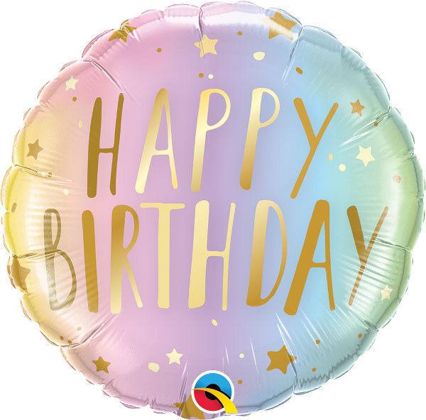 "Picture of BIRTHDAY PASTEL OMBRE & STARS Folienballon 18"""