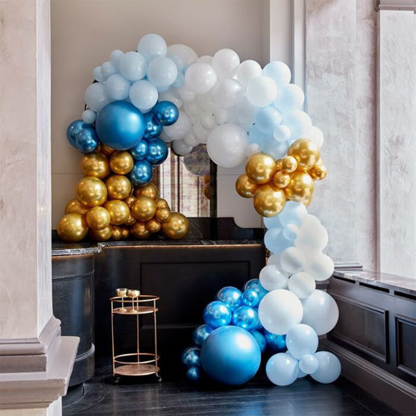Picture of LUXE BLUE AND GOLD Ballongirlanden Set