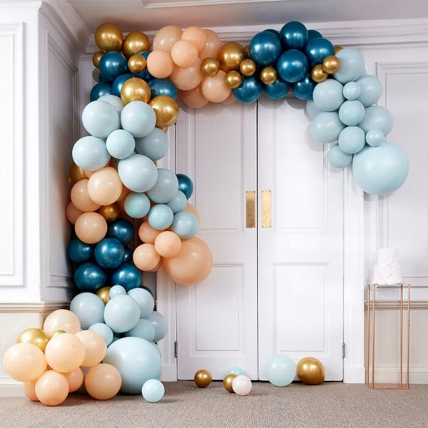 Picture of LUXE TEAL AND GOLD CHROME Ballongirlanden Set