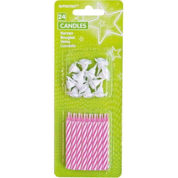 Picture of 24 Spiralkerzen mit 12 Haltern pink 6,3 cm