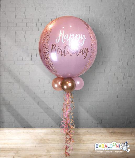 Picture of Rose Gold Happy Birthday Orbz mit Deko und Gewicht