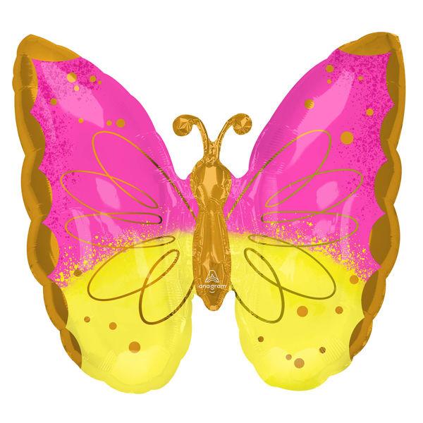"Picture of Schmetterling Pink & Gelb Folienballon SuperShape 25"""