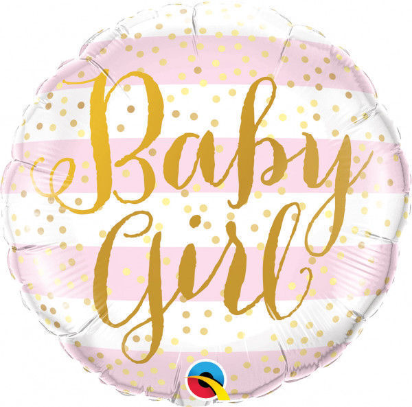 """Picture of BABY GIRL PINK STRIPES Folienballon 18"""""""